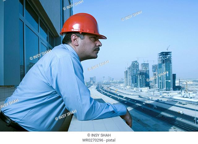 Engineer looks at the building constructions in Dubai
