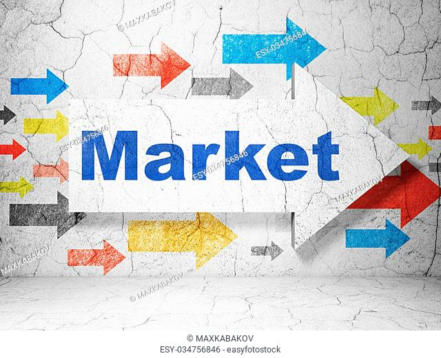 Marketing concept: arrow with Market on grunge textured concrete wall background, 3D rendering
