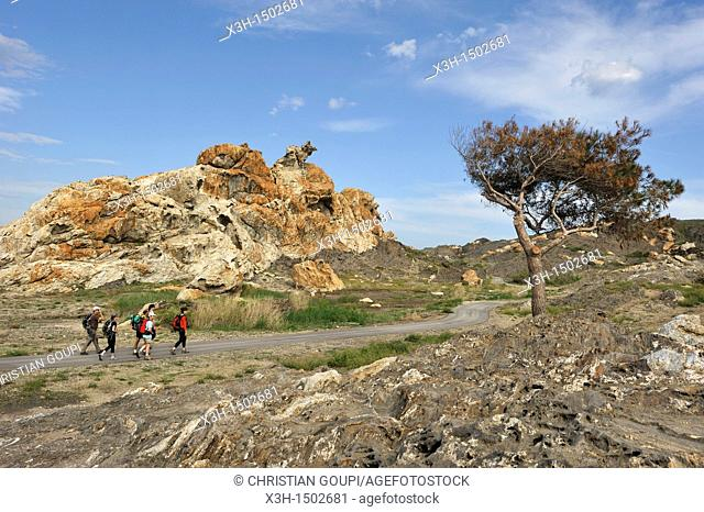 remarkable rock called 'eagle' Pla de Tudela Cap Creus Costa Brava, Catalonia, Spain, Europe
