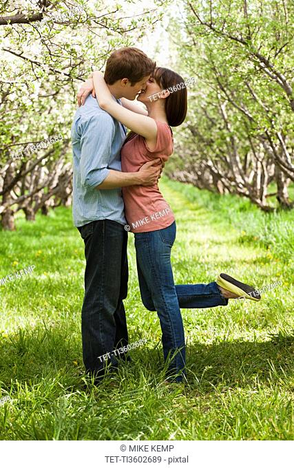 USA, Utah, Provo, Young couple kissing in orchard