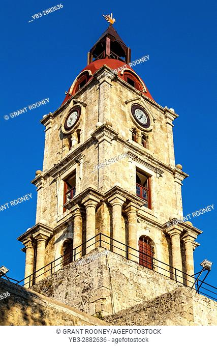 The Roloi Medieval Clock Tower, Rhodes Old Town, Rhodes, Greece