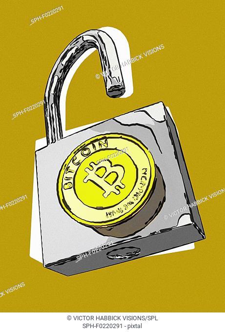 Bitcoin security, conceptual illustration