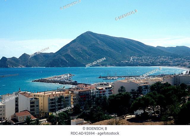 View to the coast with mountain Raco del Albir Altea Costa Blanca Spain