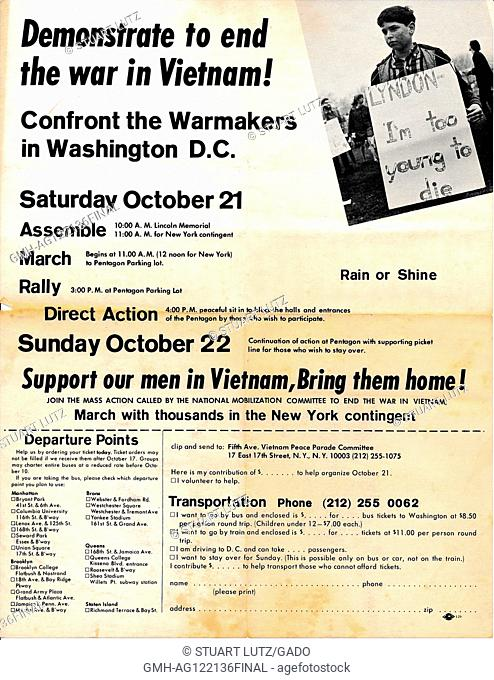 """A Vietnam War era leaflet from the Fifth Avenue Vietnam Peace Parade Committee titled """"""""Demonstrate to end the war in Vietnam!"""""""" advocating that readers attend..."""