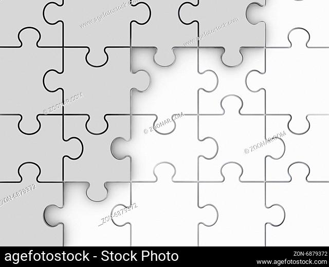 Incomplete concept, white jigsaw puzzle pieces