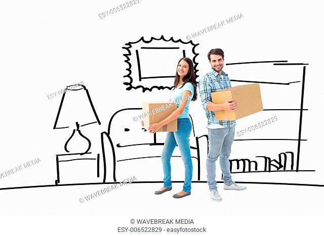 Composite image of happy young couple with moving boxes
