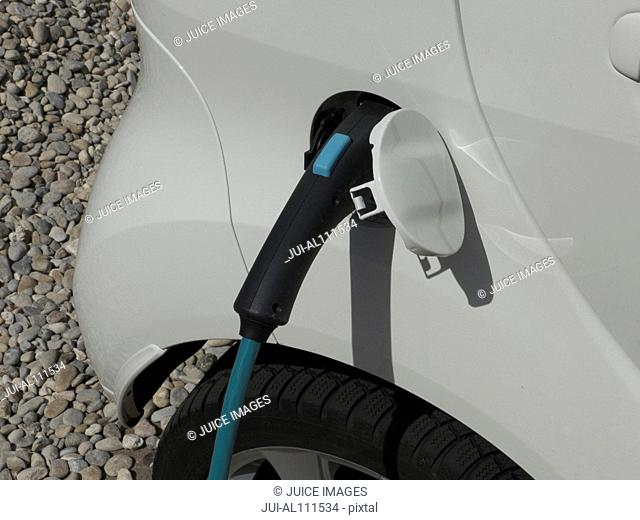 Electric Car Charging Unit, close-up, Frankfurt, Hesse, Germany