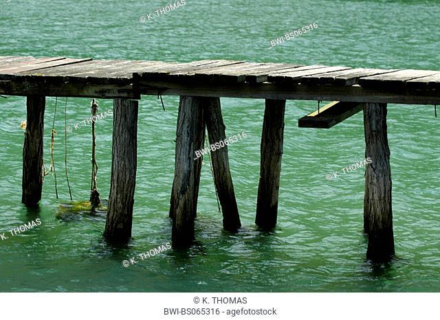 bridge in shallow water, Croatia, Istria, Limski channel