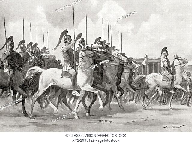 A census was held in ancient Rome every five years. Seen here is a parade of the centuries of knights whose horses were inspected by the censors