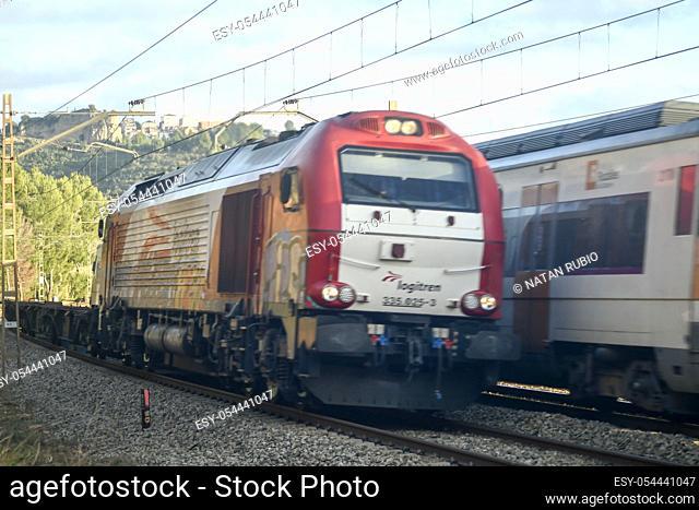 Freight train. Castellbisbal railway station. Castellbisbal, Barcelona, Spain