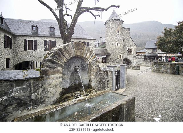 Atmosphere and architecture in the city center of Saint-Lary-Soulan ski resort South of France. The old city hall