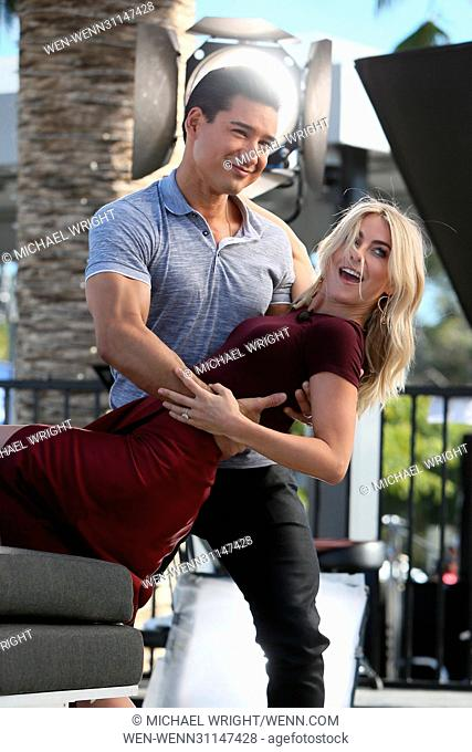 Julianne Hough and Derek Hough seen at Universal Studios where they interviewed with Mario Lopez for the television show 'Extra' Featuring: Julianne Hough