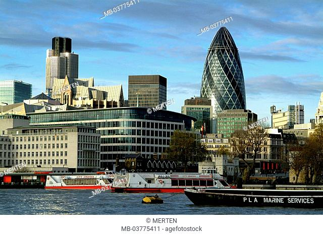 Great Britain, England, London,  Thames, boats, view at the city,  Bank quarter, Swiss Re tower, Europe, capital, view at the city, city, architecture