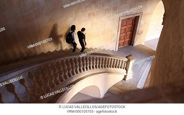 Stairs to second floor in Charles V's palace, Alhambra. Granada, Andalusia. Spain