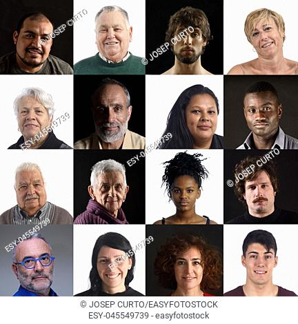 mosaic of faces of people