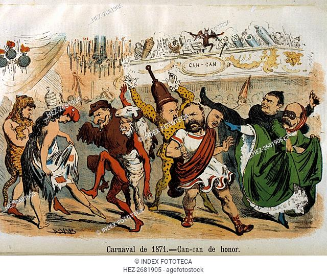 Reign of Amadeo of Savoy, cartoon of the carnival with politicians, the Kaiser, Napoleon III, Riv?