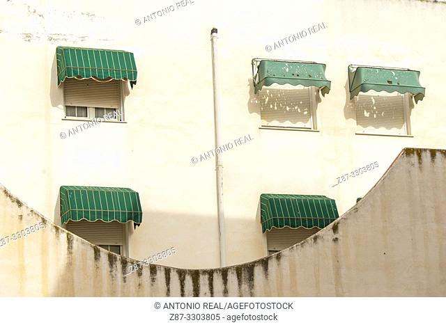 Windows. Almansa. Albacete province, Castile-La Mancha, Spain
