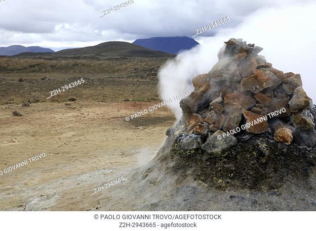 Hverir geothermal near Namafjall mountain, Myvatn Lake area, Iceland, Europe