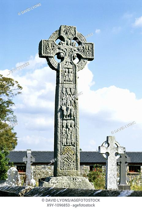 Medieval Celtic Christian High Cross in the churchyard at Drumcliff, County Sligo, Ireland  Close to grave of poet W  B  Yeats