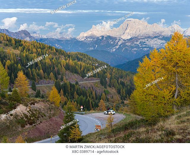 View over Val Biois from Passo di Valles towards Civetta, Monte Pelmo in the background. Civetta and Pelmo are part of UNESCO world heritage Dolomites