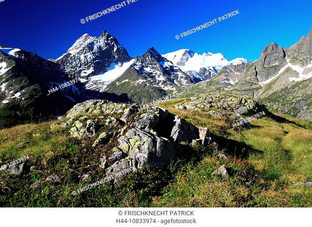 Switzerland, Europe, Canton Uri, Sustenhorn, Chli Sustenhorn, Sustenspitz, Gwachtenhorn, Susten Pass area, summer, Cen
