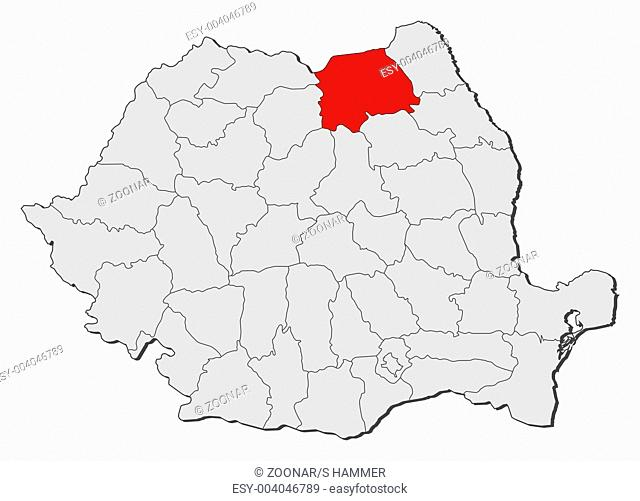 Map of Romania, Suceava highlighted