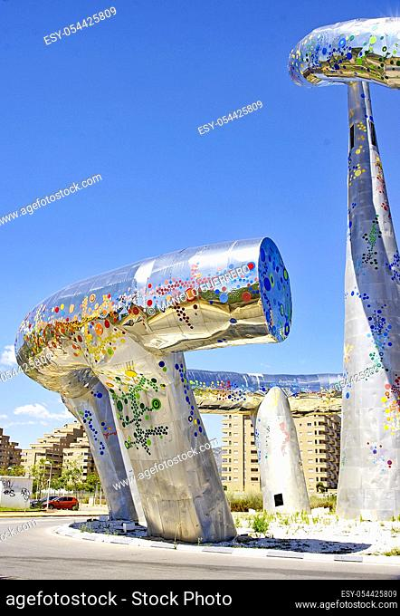 Shiny metal sculpture of a roundabout in Oropesa, Castellón, Valencian Community, Spain, Europe
