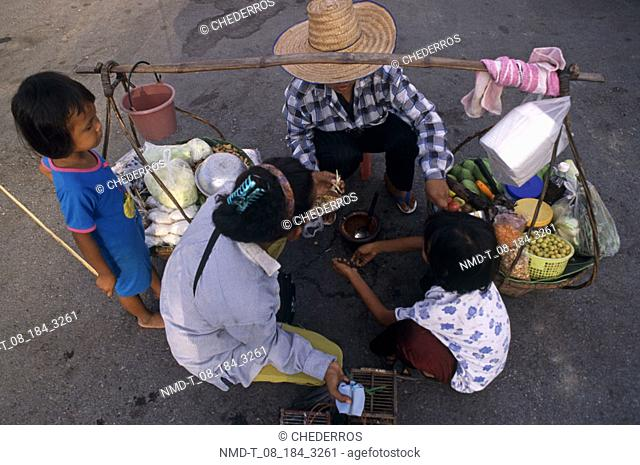 High angle view of a vendor selling goods