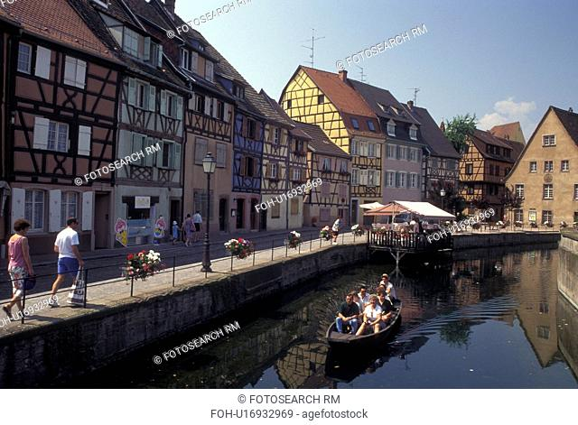 France, canal, Colmar, Alsace, Haut-Rhin, Europe, wine region, Scenic view of tour boats along the canal in the town of Colmar, capital of Haut-Rhin