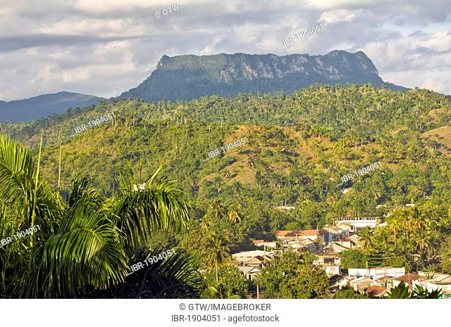 View of Baracoa, El Yunque Mountain at back, Guantanamo province, Cuba