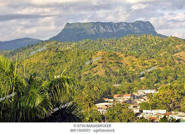 View of Baracoa, El Yunque Mountain at back, Guantanamo province, Cuba