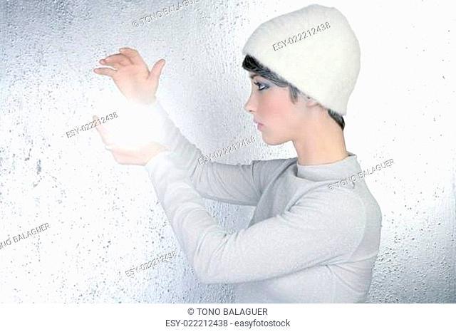 futuristic fortune teller woman light glass sphere future