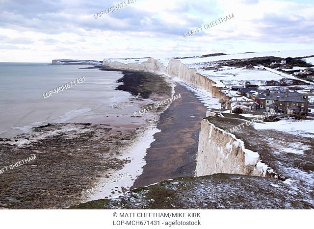 A shot west from Birling Gap of Seven Sisters in Winter