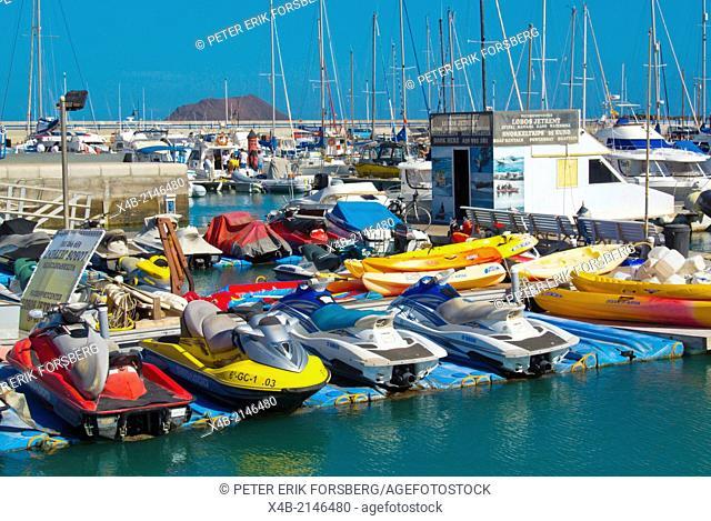 Jetskis, watersports center equipment rental, Puerto de Corralejo, the port, Corralejo, Fuerteventura, Canary Islands, Spain, Europe