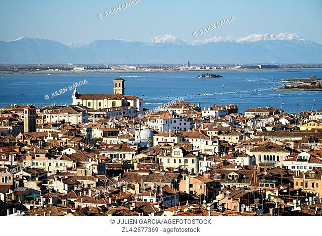 Italy, Veneto, Venice, listed as World Heritage by UNESCO, view of Venice from Saint Mark's Campanile