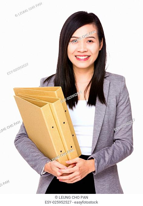 Asian Businesswoman hold with folder
