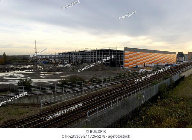Construction of new warehouses, Beckton, East London, UK