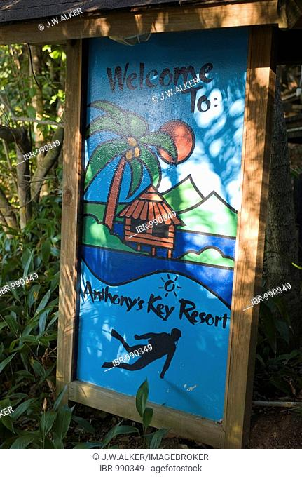 Welcome sign at the diving school, Hotel Anthony's Key Resort, Roatan, Honduras, Central America