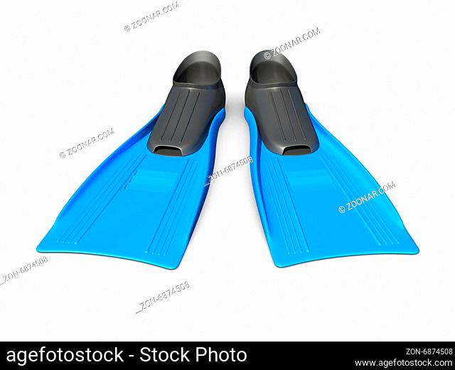 Blue flippers, front view, isolated on white background