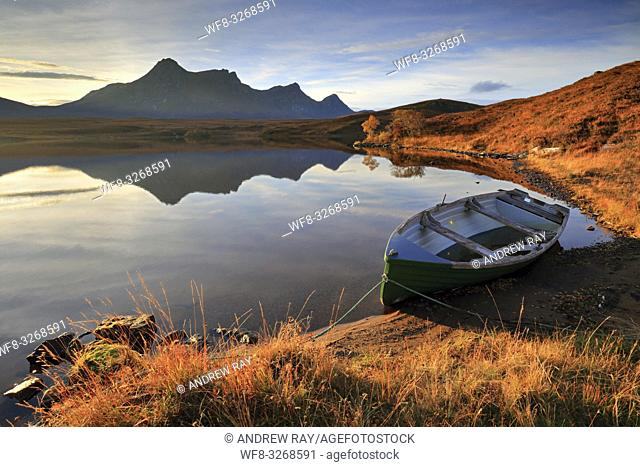 A boat moored on the southern side of Loch Hakel, near Tongue in the North West Highlands of Scotland