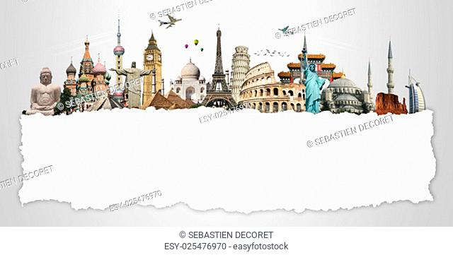 Famous monuments of the world grouped together