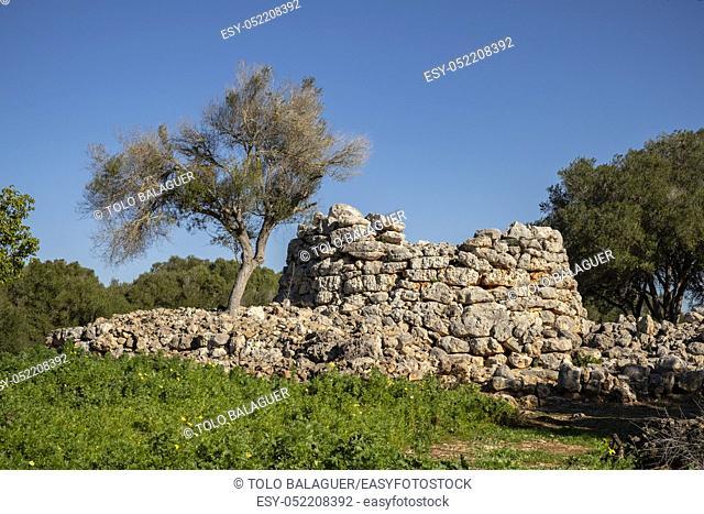 talayot circular, conjunto prehistórico de Capocorb Vell, principios del primer milenio a. C. (Edad de Hierro), Monumento Histórico Artístico, Llucmajor