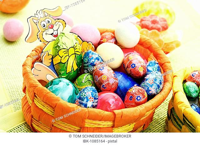 Easter basket, Easter eggs and Easter candies