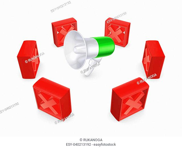 Red crossmarks around megaphone.Isolated on white background.3d rendered