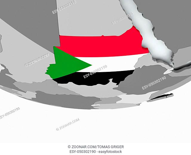 3D render of Sudan with flag on grey globe. 3D illustration