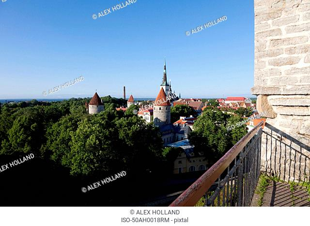 Railing overlooking medieval city