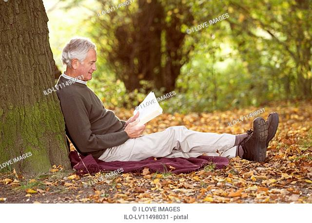 A senior man sitting beneath a tree reading a book