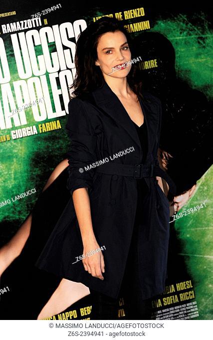 micaela ramazzotti; ramazzotti; actress; celebrities; 2015;rome; italy;event; photocall; ho ucciso napoleone