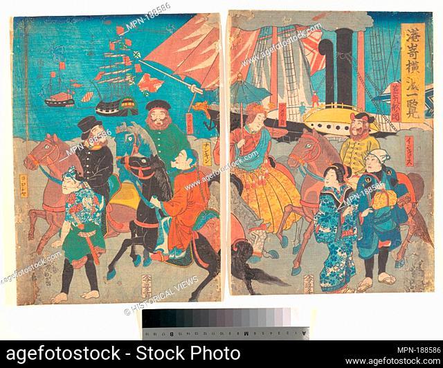 A Glance at Miyosaki, Yokohama. Artist: Utagawa Yoshimori (Japanese, 1830-1884); Date: ca. 1860; Culture: Japan; Medium: Diptych of polychrome woodblock prints;...