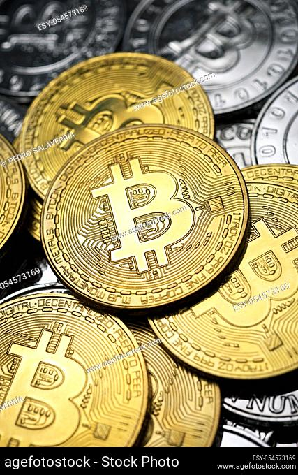 Close-up of a group of bitcoin coins